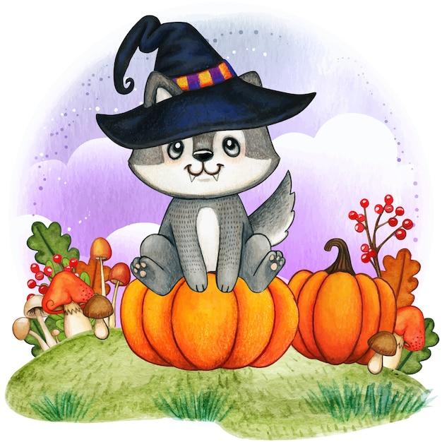 Filhote de lobo bonito em aquarela com chapéu de bruxa sentado em uma abóbora Vetor Premium