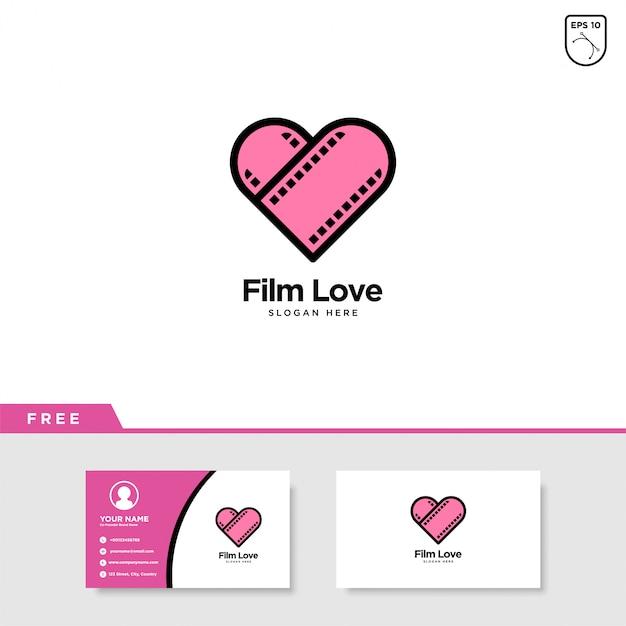 Film love logo design Vetor Premium