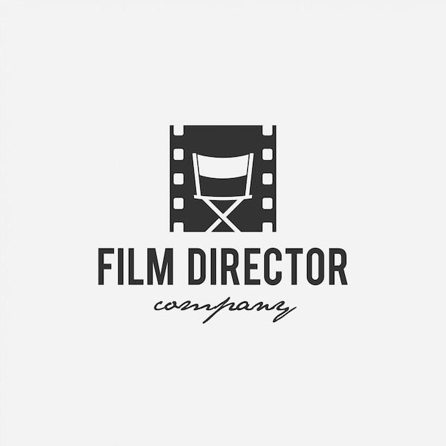 Filme de design de logotipo criativo, cinema, diretor, empresa de tv Vetor Premium