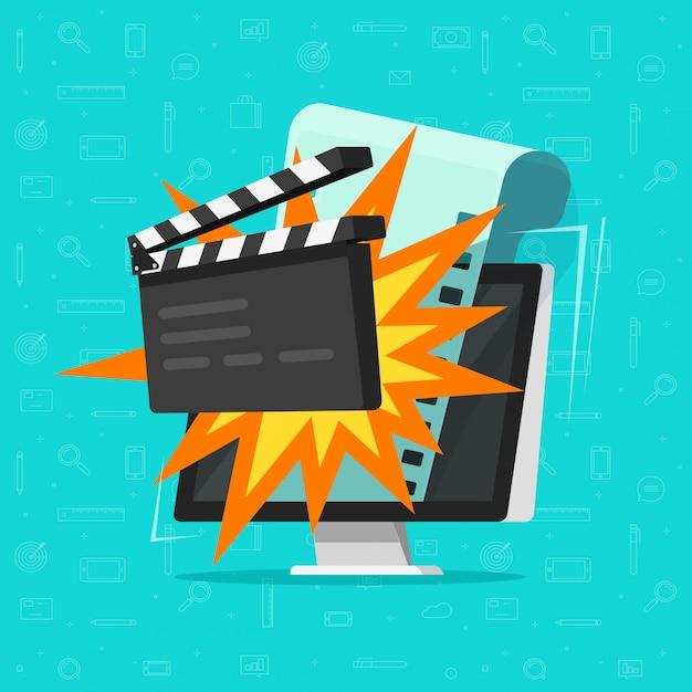 Filme ou cinema online no computador conceito plana dos desenhos animados Vetor Premium