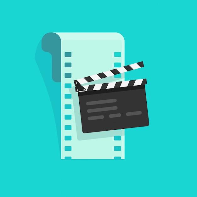Filme ou equipamento de cinema on-line vector ilustração plana dos desenhos animados Vetor Premium