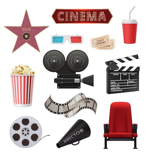 Filme realista. objetos de cinema câmera filmadora filme fita claquete coleção Vetor Premium