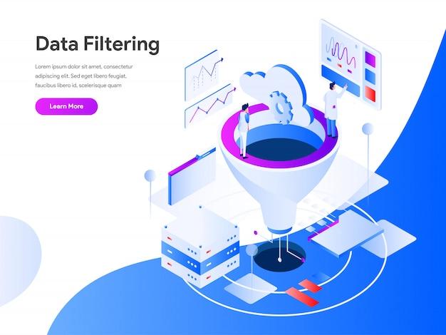 Filtragem de dados isométrica para página do site Vetor Premium