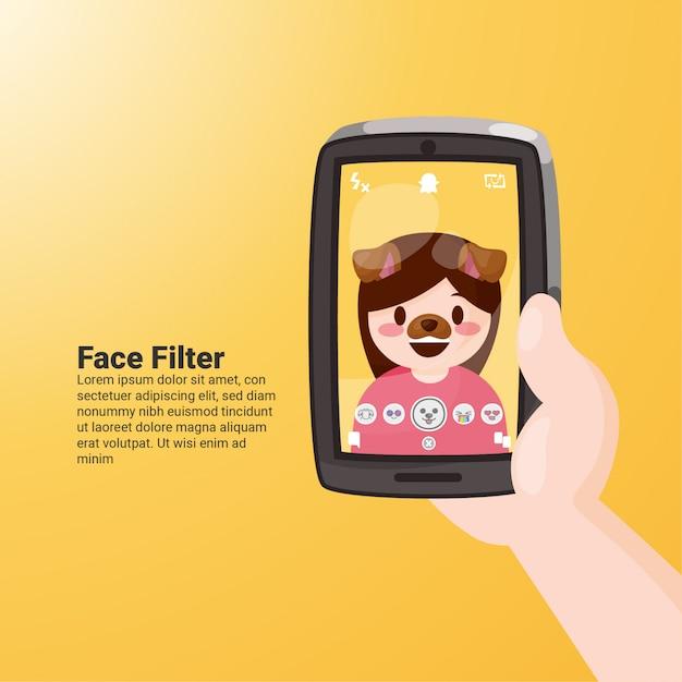 Filtro de rosto para cachorro snapchat Vetor Premium