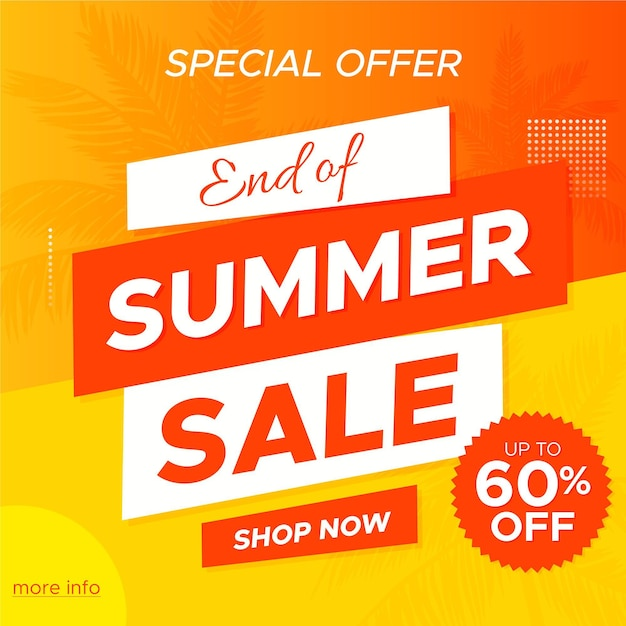 Fim da temporada verão venda oferta especial banner Vetor grátis