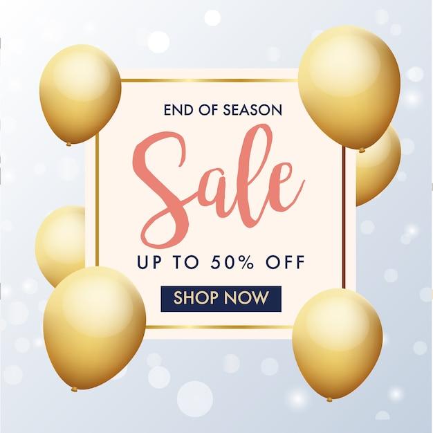Fim de banner de venda temporada com balões de ouro Vetor Premium