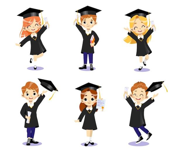 Fim dos cursos universitários e do conceito de graduação. conjunto de meninos e meninas de estudantes de sorriso felizes em vestidos acadêmicos juntos, jogando chapéus no ar. estilo simples dos desenhos animados. Vetor Premium