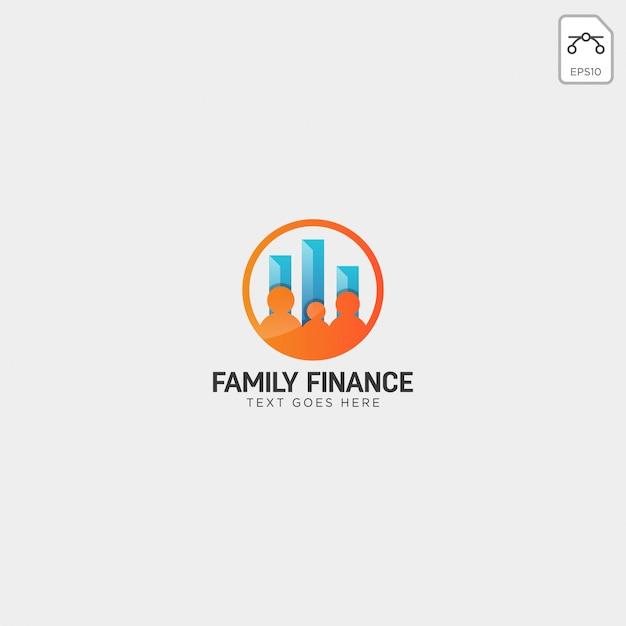 Finanças da família, elemento de ícone de ilustração de vetor negócios logotipo modelo Vetor Premium