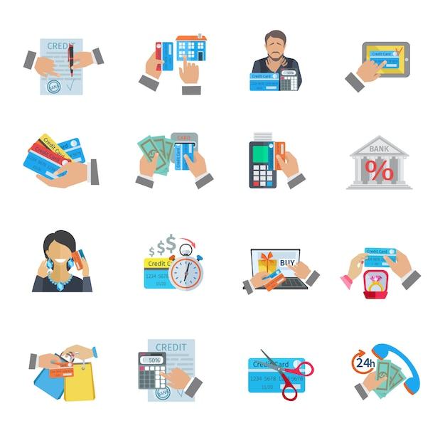 Finanças de vida de crédito e pagamento ícone plano conjunto Vetor grátis