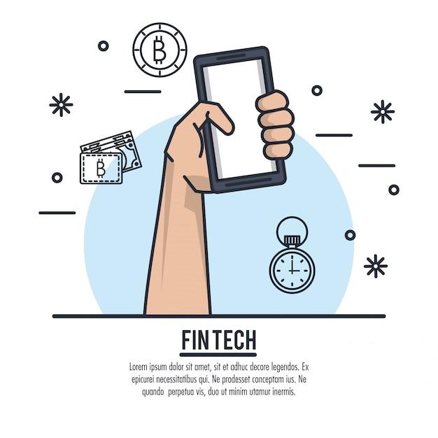 Finanças e tecnologia Vetor Premium