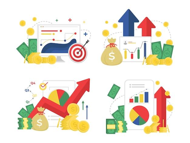 Finanças empresariais e marketing melhoria cenografia plana Vetor Premium