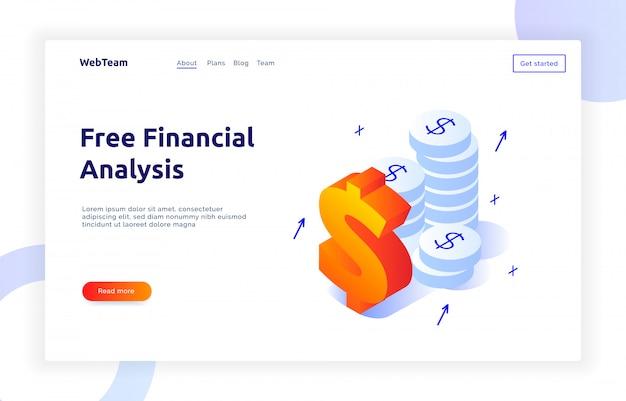 Finanças isométricas e banner de marketing Vetor Premium