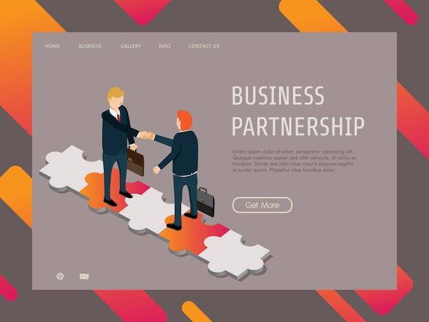 Financiamento de negócios com parceria de negócios bem sucedido Vetor Premium
