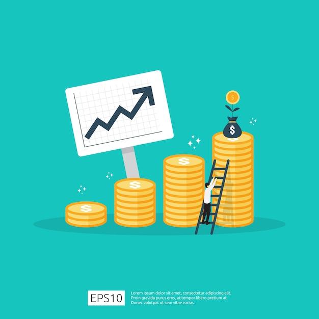 Financie o desempenho do conceito de roi de retorno do investimento com seta. aumento da taxa salarial de renda. Vetor Premium
