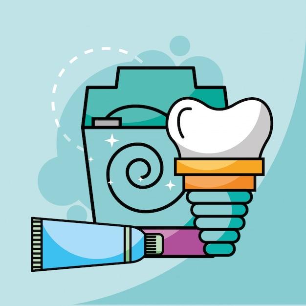 Fio dental e implante dentário Vetor Premium