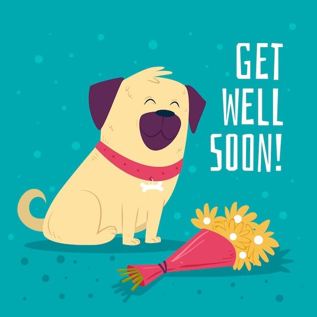 Fique bom logo com cachorro e flores Vetor grátis