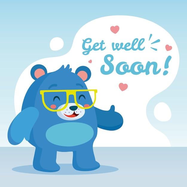 Fique bom logo com o urso desistindo Vetor grátis