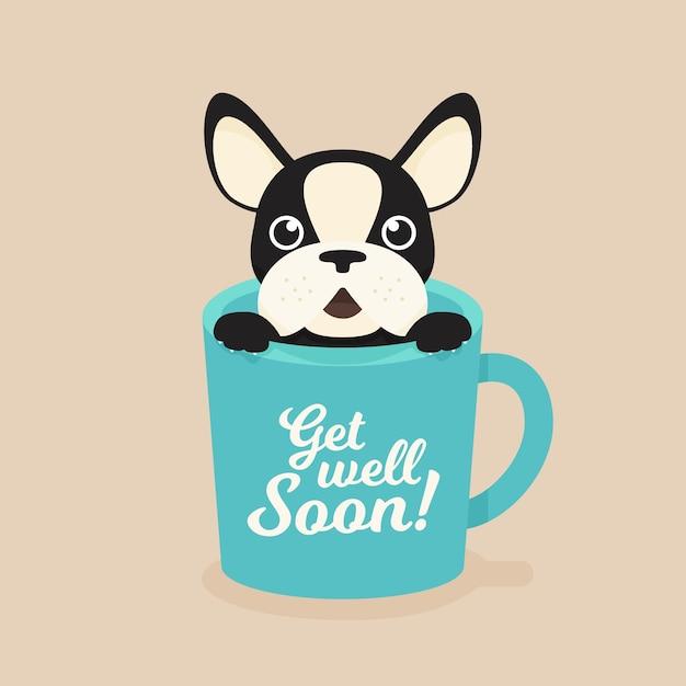 Fique bom logo cotação e bulldog francês Vetor Premium