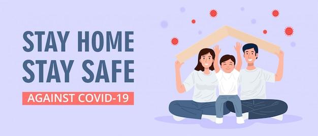 Fique em casa, família feliz segurando a maquete do telhado sobre suas cabeças. vetor Vetor Premium