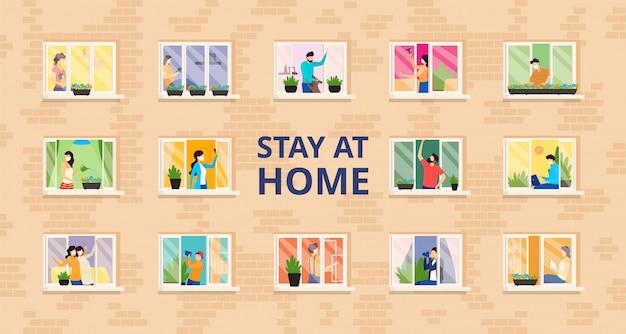 Fique em casa, pessoas cheias abrigam ilustração. auto-isolamento, distância social em prédio residencial com janelas abertas. Vetor Premium