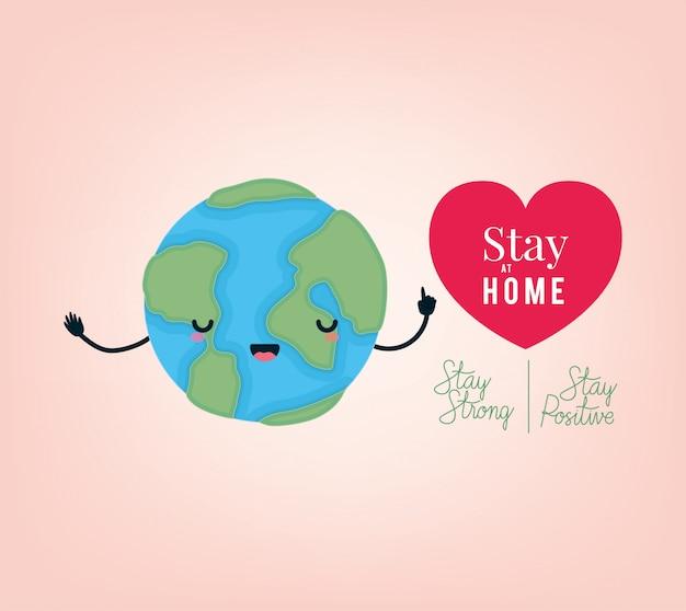 Fique em casa texto forte e positivo mundo dos desenhos animados e design de coração Vetor Premium