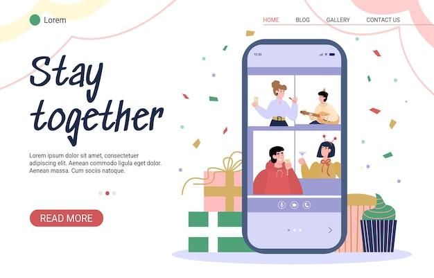 Fique junto conceito de desenho animado virtual de festa online Vetor Premium