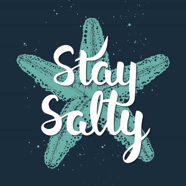Fique salgado com esboço de estrelas do mar gravadas. Vetor Premium