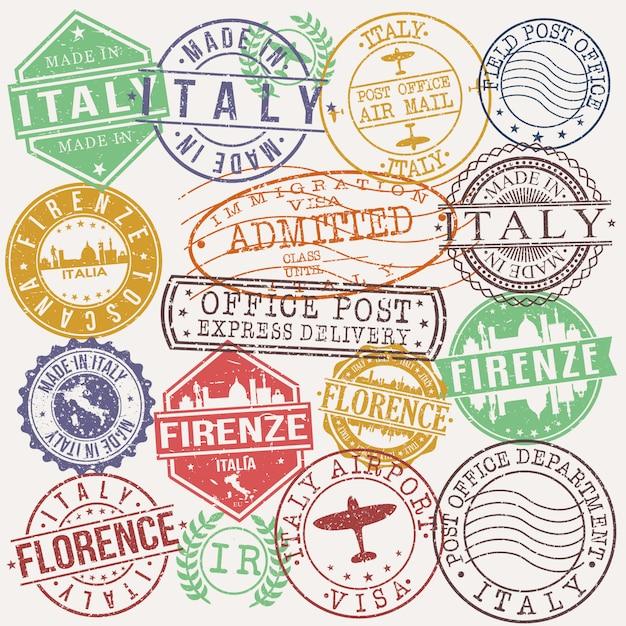 Firenze italy conjunto de desenhos de viagens e negócios carimbo Vetor Premium