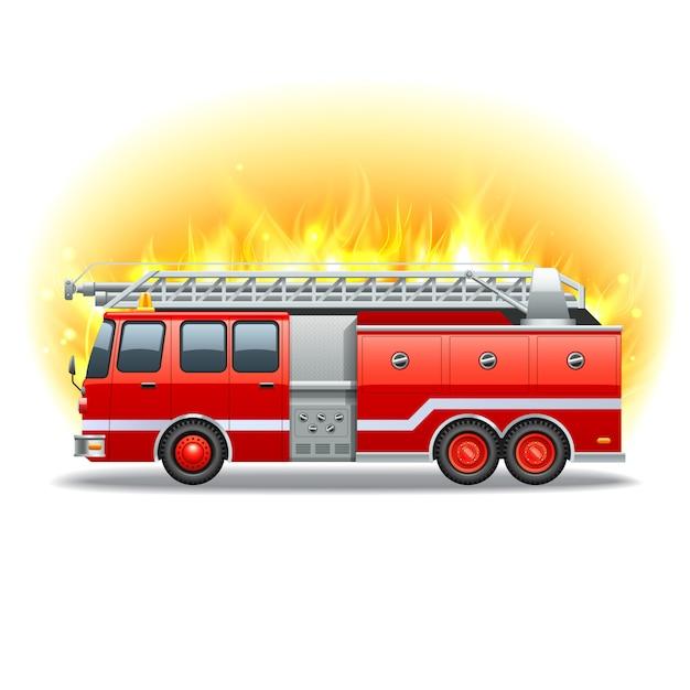 Firetruck vermelho com escada de resgate e fogo no fundo Vetor grátis