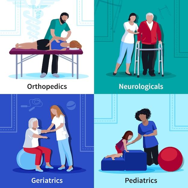 Fisioterapia reabilitação plana ícones quadrados Vetor grátis