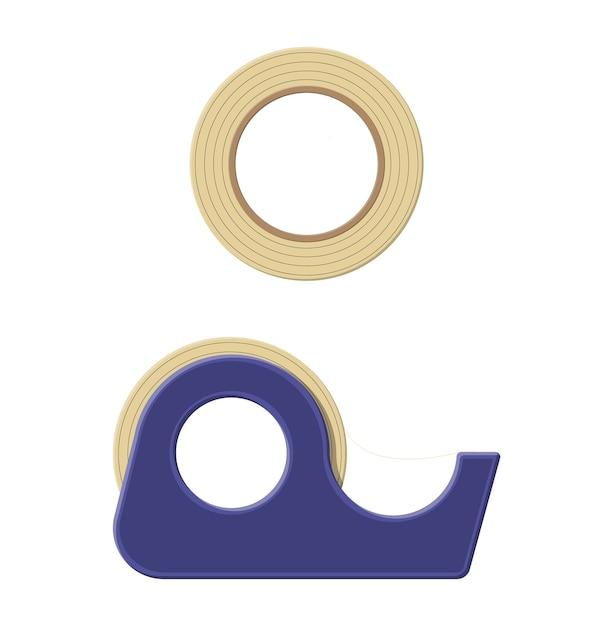 Fita adesiva em dispensador de plástico, scotch. ferramentas para educação e trabalho. Vetor Premium