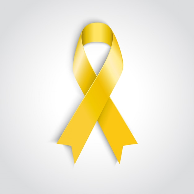 Fita amarela consciência sobre fundo branco. Vetor Premium