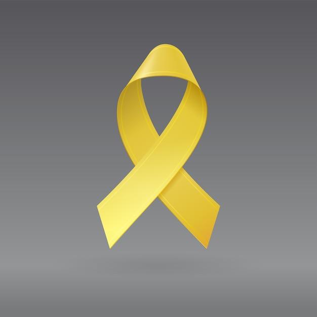 Fita amarela realista em fundo cinza escuro isolado. símbolo de conscientização do câncer infantil em setembro. modelo de banner, cartaz, convite, folheto. Vetor Premium