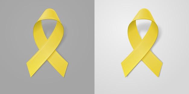 Fita amarela realista sobre fundo cinza claro e escuro. símbolo de conscientização do câncer infantil em setembro. modelo de banner, cartaz, convite, folheto. Vetor Premium