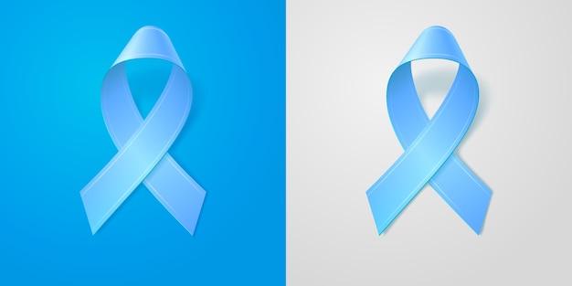 Fita azul de ilustração realista com sombra suave sobre fundo azul e cinza isolado. símbolo de conscientização do câncer de próstata. modelo editável para design. ícone 3d. Vetor Premium