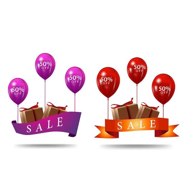 Fita com balões Vetor Premium