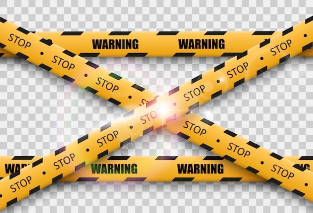 Fita de advertência de barreira em fundo transparente. ilustração. Vetor Premium