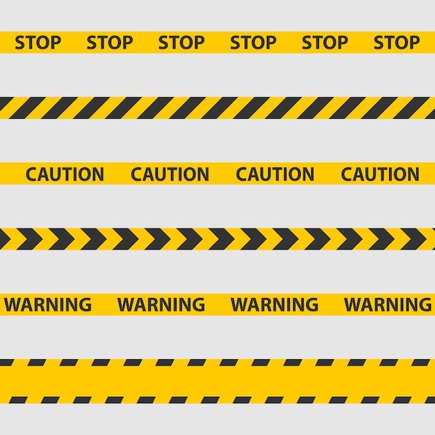 Fita de advertência, linha de polícia e fitas de perigo Vetor Premium
