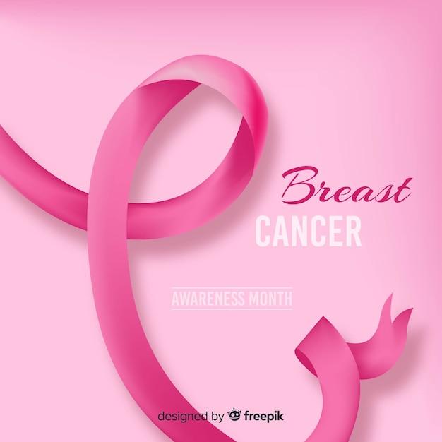 Fita de câncer de mama realista Vetor grátis
