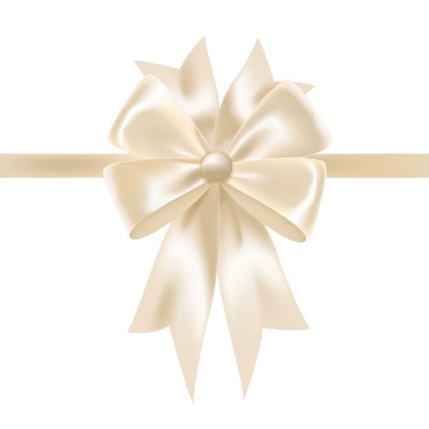 Fita de cetim brilhante branco ou fita decorada com laço Vetor Premium