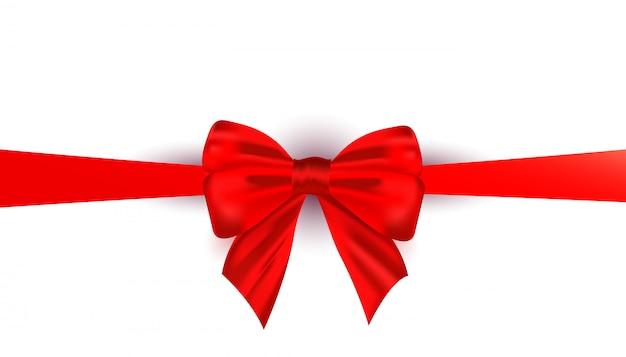 Fita de laço de seda vermelha linda realista isolada Vetor Premium