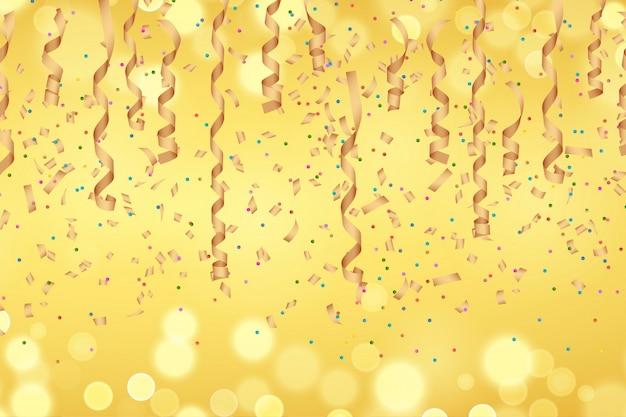 Fita de papel dourado encaracolado e confetes no fundo dourado desfocado. Vetor Premium