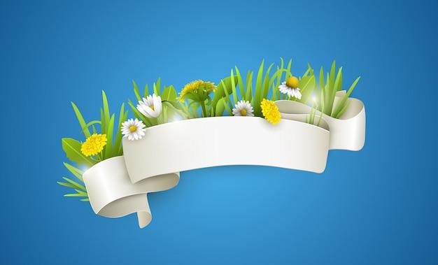 Fita de seda branca com flores silvestres. Vetor Premium