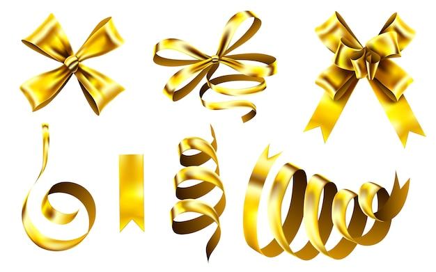 Fita decorativa dourada, laço de embrulho de natal e fitas brilhantes. Vetor Premium