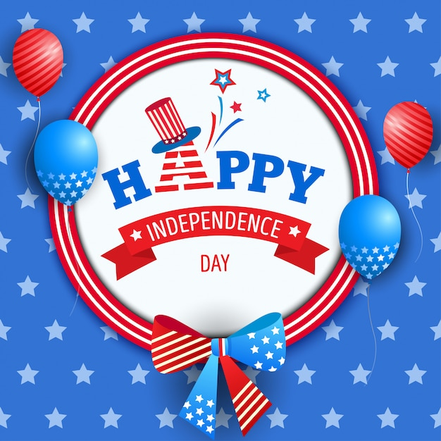 Fita do dia da independência Vetor Premium