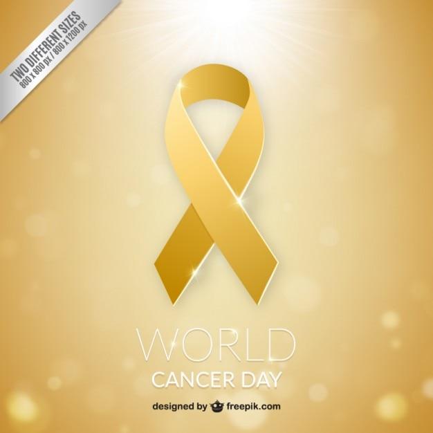 Fita dourada câncer mundo day background Vetor grátis