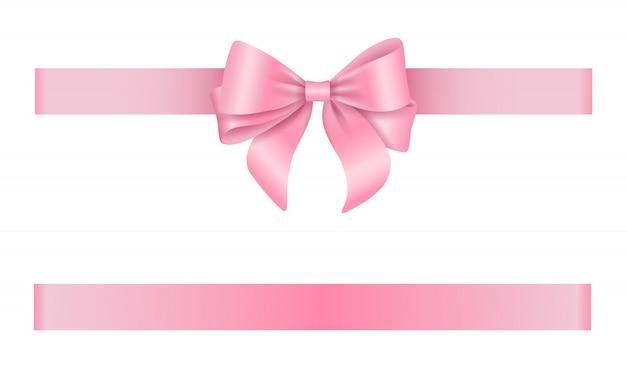 Fita e laço rosa Vetor Premium