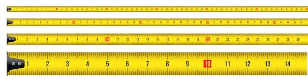 Fita métrica, ferramenta, régua, medidor, roleta. Vetor Premium