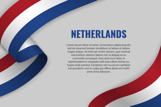 Fita ondulada ou banner com bandeira da holanda Vetor Premium