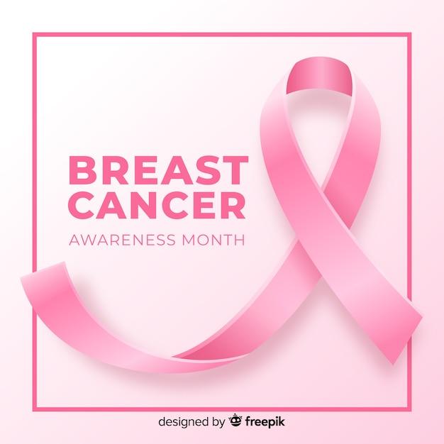Fita realista para conscientização do câncer de mama Vetor grátis